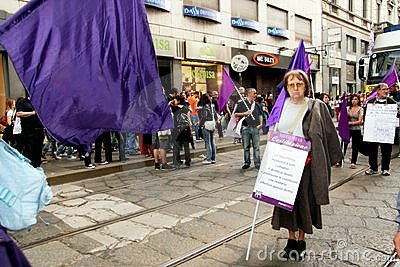 Italy, Violet party protesting politic corruption Editorial Image