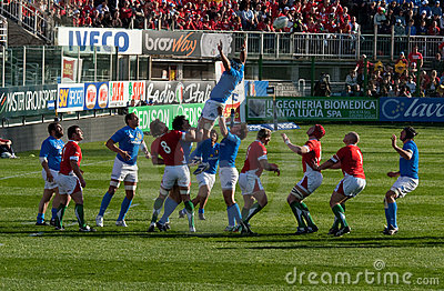 Italy vs Wales, six nation rugby Editorial Image