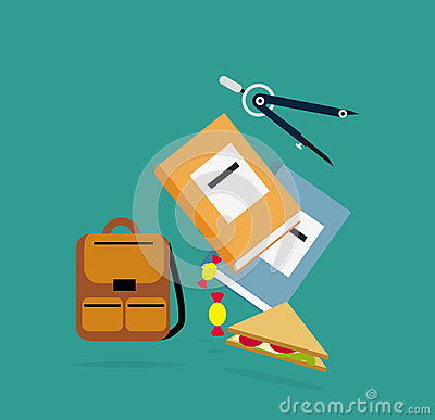 Items Backpack, Book Dividers Lunch Vector Illustration
