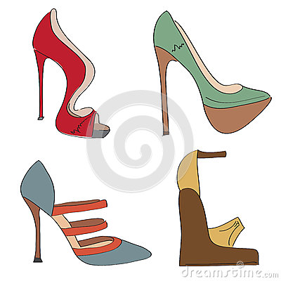 Items shoes set on a high heel