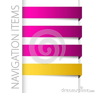 Items violetas modernos de la navegación en barra derecha