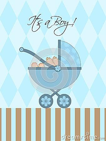Free Its A Boy Blue Baby Pram Royalty Free Stock Image - 18336006