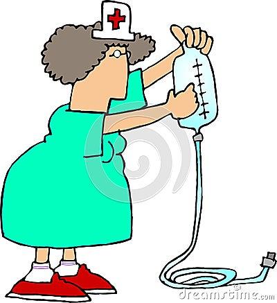 IV Nurse 2 Cartoon Illustration