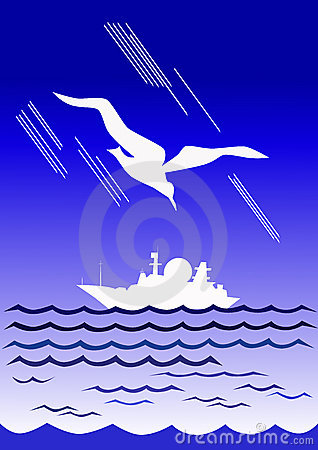 Ivory gull and white boat