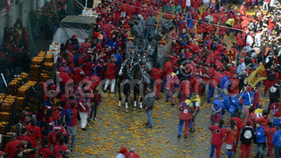 IVREA, ITALY - February 27, 2017: Sequence from the re-enactment: the Battle of the Oranges in Ivrea. The origins of the festival are in the overthrow of a stock video