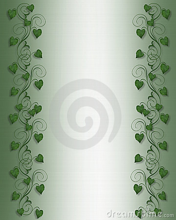 Ivy Border on Green Satin