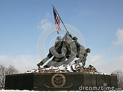 Iwo Jima Memorial with Snow Editorial Stock Photo