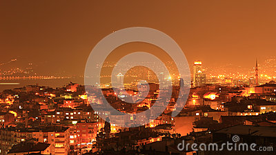 Izmir night Wiew Editorial Stock Image