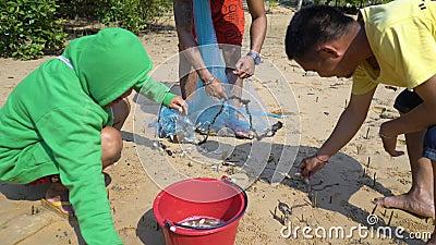 Jóvenes sacan peces pequeños de la red de pesca metrajes