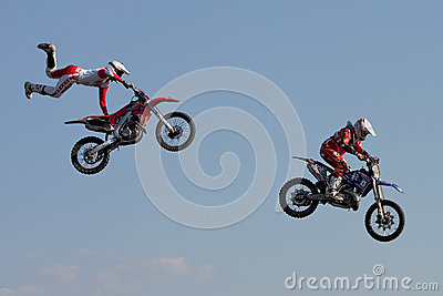 J. Grindrod and D. Wiggins, motocross riders Editorial Stock Photo