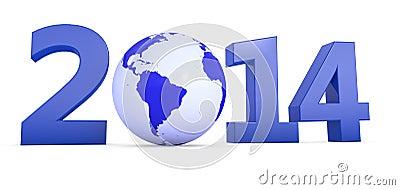 Jaar 2014 met bol als Nul