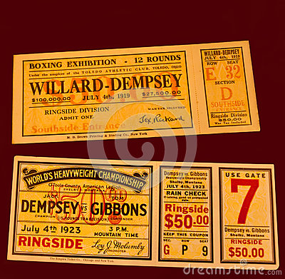 Jack dempsey fight tickets Editorial Photography