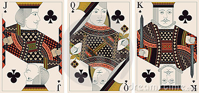 Jack, king,queen of clubs- vector