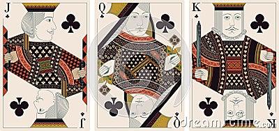 Jack, king,queen of clubs- vector