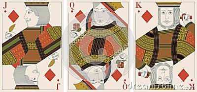 Jack, king,queen of diamonds- vector
