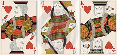 Jack, king,queen of hearts - vector