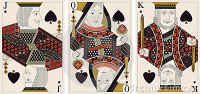 Jack, king,queen of spades- vector