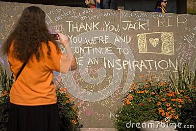 Jack Layton - Chalk Memorial. Editorial Photo