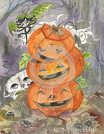Привидение и jack-o-фонарики Halloween