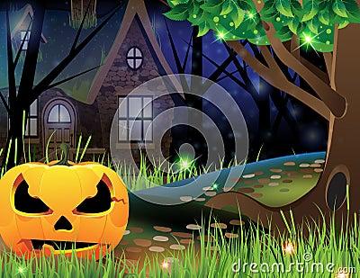 Jack O Lantern and abandoned house