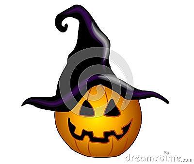 Jack-O-Lantern Black Witch Hat