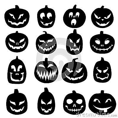 Free Jack O Lantern Carved Pumpkin Icons Stock Image - 44136721