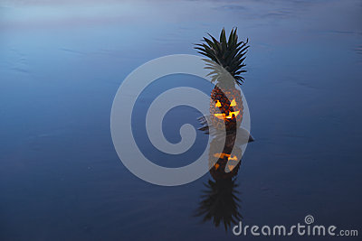 Jack o lantern pinapple with reflection