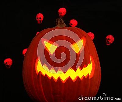 A Jack-o-lantern plus Skulls