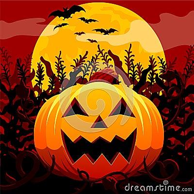 Jack O Lantern In Spooky Field