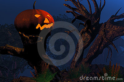 Jack O Lantern on a tree stump