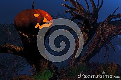 Jack O Lantern on a tree stump