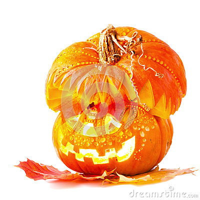 Jack o Lantern on white background