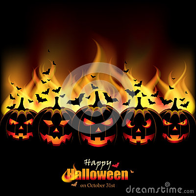 Jack O Lanterns in front of Flames