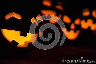 Jack-o-lanterns at Night