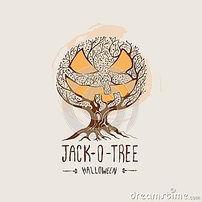 Jack-O-Tree -  Halloween Vector
