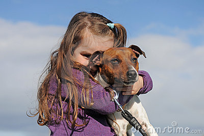 Jack russel terrier and child