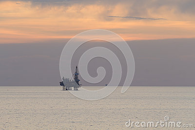 Jack up rig in the middle of the sea