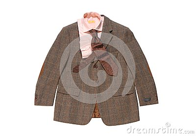 Jacket, Shirt, necktie on White Background.