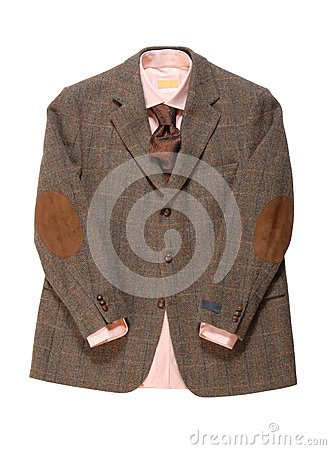 Jacket, Shirt, necktie is on white background.