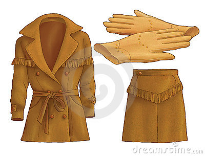Jacket, skirt and gloves