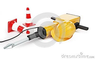 Jackhammer construction helmet traffic cones