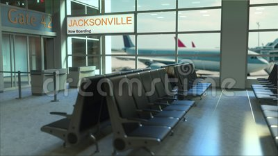 Jacksonville flyg som nu stiger ombord i flygplatsterminalen Resa till den begreppsmässiga introanimeringen för Förenta staterna, arkivfilmer