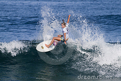 Jacqueline Silva Surfing in the Hawaiian Pro Editorial Stock Image