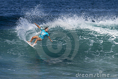 Jacqueline Silva Surfing in the Hawaiian Pro Editorial Image