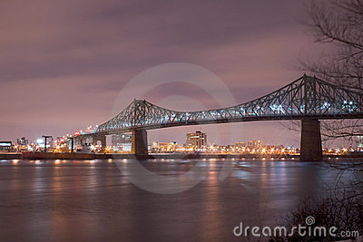 Jacques Cartier bridge at night, in Montreal