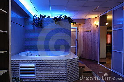 Jacuzzi in modern luxurious bathroom