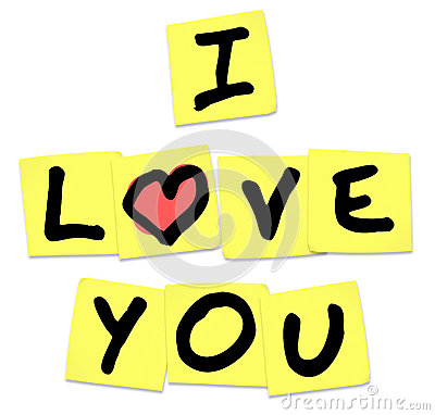 Jag älskar dig - ord på gula klibbiga anmärkningar