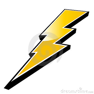 Three dimension symbol of yellow jagged bolt of lightening, isolated ...