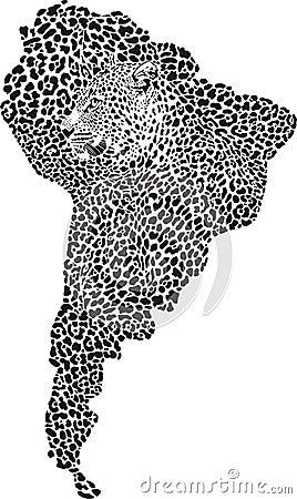 Jaguar op de kaart van Zuid-Amerika