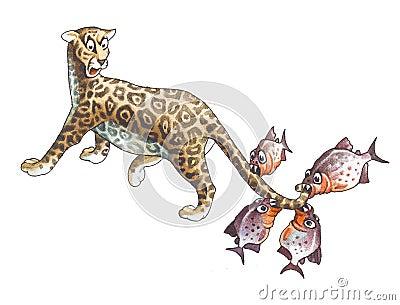 Jaguar and piranha